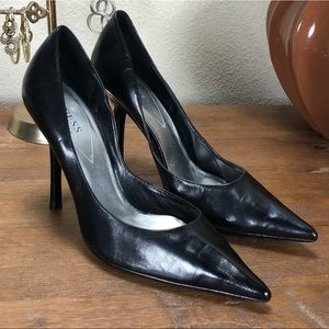 Guess Black Leather Pointed Stiletto Heels